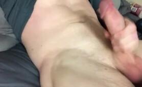 College hunk jerks fat cock in dorm