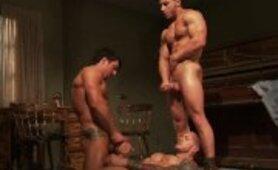 Muscular hunks group tug